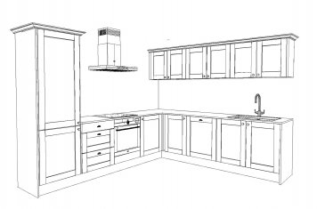 Line drawing of medium sized traditional style kitchen
