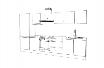 Line drawing of small modern kitchen