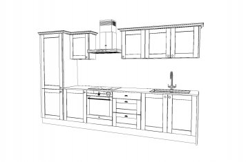 Line drawing of small size traditional style kitchen