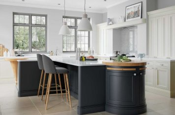 Inframe shaker style kitchen painted slate blue and porcelain