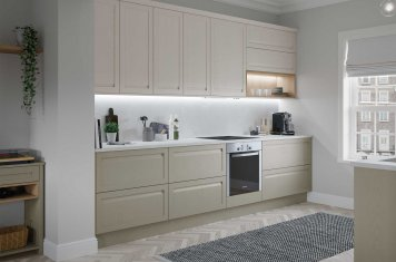 Contemporary Slim Frame Handeless Shaker Kitchen Painted Matte Shell and Stone