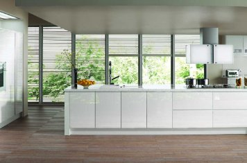 gloss white handleless modern kitchen