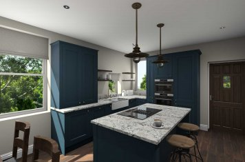 Inframe shaker style kitchen painted matte marine blue main pic
