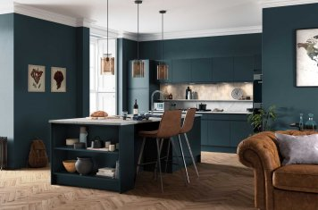 Marine blue J-pull handleless kitchen main picture