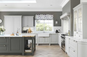 Traditional raised panel kitchen painted gun metal grey and light grey main pic