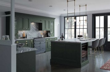 Luxurious inframe kitchen in forst green main pic