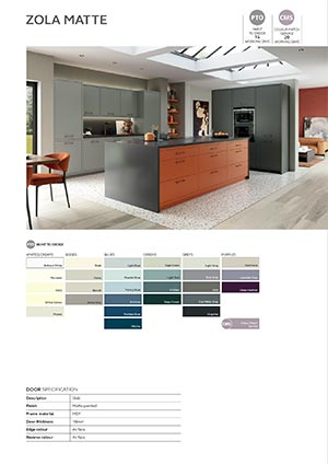 Zola door information sheet - orange graphite dust grey